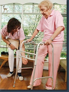 Caregiver helping client