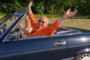 older adult happy driving